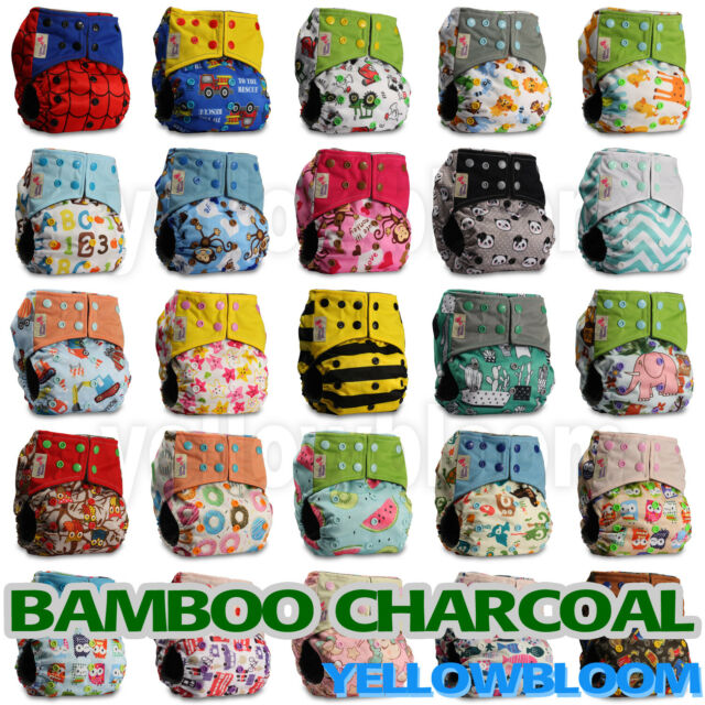 with 2 Charcoal Inserts Pattern 17 Littles /& Bloomz Reusable Pocket Real Cloth Nappy Washable Diaper Bamboo Charcoal