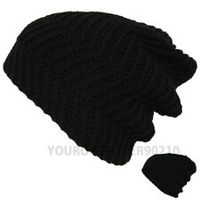 Mens Womens Knit Baggy Beanie Crochet Hat Winter Slouchy Thick Warm Reversible