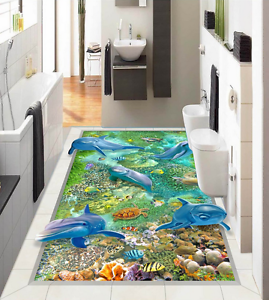 3D bluee Dolphin 5672 Floor WallPaper Murals Wallpaper Mural Print AJ AU Lemon