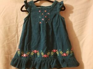 KIDS  Vintage beautiful and cute 80s babygirl dress navy with cherries cord embroidery   size 2T