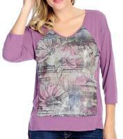 - One World Heathered Knit Drop Shoulder Sequin Embellished Hi-lo Top Sz M