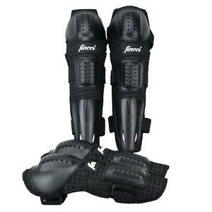 Fincci Knee Elbow Long Shin Pads Armour Guard Protection Set Motocross Bicycle