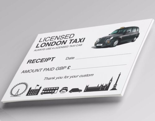 Minicab Receipts Tickets✔10 assorted designs✔FREEPOST Pack of 100 Blank Taxi