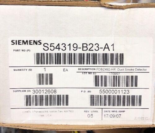 Siemens S54319-B23-A1 FDBZ492-HR Duct Smoke Detector Housing Fire Alarm