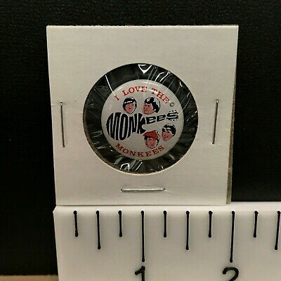 I Love Micky Dolenz 1967 Vintage Monkees Pin-Back Button