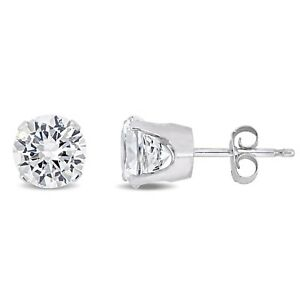 Amour 10k Gold Created White Sapphire Stud Earrings (2 5/8ct TGW)