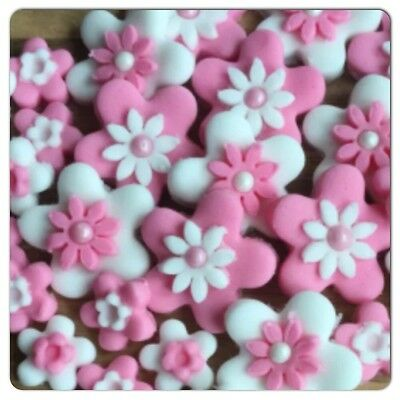 32 Edible PINK WHITE Sugar Flowers Cake cupcake toppers Decorations Wedding