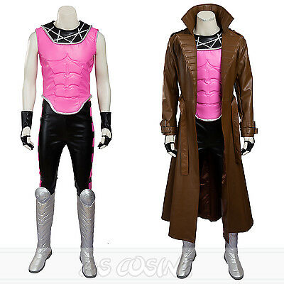 X-Men Superhero Gambit Remy Etienne LeBeau Cosplay Shoes+Mask+Pant Halloween Cos