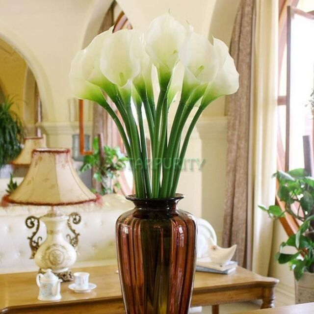 10Pcs Artificial Calla Lily Latex Real Touch Flower Bouquets Bridal Wedding DIY