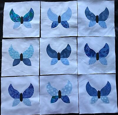9 Fabric Quilt Top Blocks 6 Inch Square Purple /& Lavender  Dragonfly Appliques