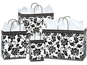FLORAL-BROCADE-Gloss-Design-Gift-Paper-Bag-Only-Choose-Size-amp-Package-Amount