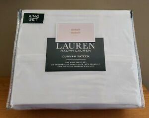 Ralph-Lauren-KING-Sheet-Set-100-Cotton-Sateen-300-TC-XDeep-Fitted-White-NEW
