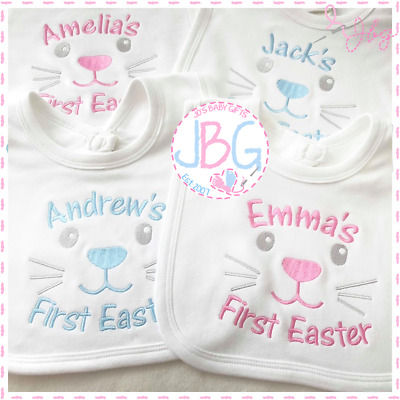 My First Easter New Personalised Soft Cotton Baby Bib Unisex Great Idea for Gift