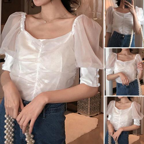 Womens Plus Size Sheer Mesh Club Top Puff Sleeve Blouse See-through Summer Shirt