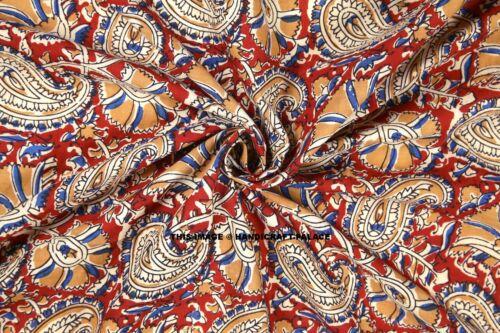 By yard Indian Hand Block Print Cotton Floral Fabric Sanganeri Print Running