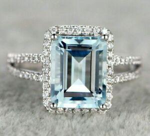 2CT-Emerald-Cut-Aquamarine-amp-Diamond-14k-White-Gold-Finish-Halo-Split-Shank-Ring