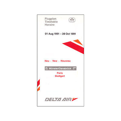 Supply Delta Air - Airline Timetable - 01 Aug To 28 Oct 1991