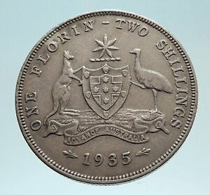 1935-AUSTRALIA-UK-King-George-V-KANGAROO-Genuine-Silver-Shilling-Coin-i76203