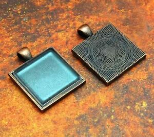 "10 QTY - 25mm 1"" Inch SQUARE ANTIQUE COPPER Photo Pendant Tray & FLAT GLASS"