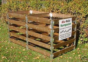 Alu Holz Komposter Mit 2 Kammern 180 X 90 X 100 Kompostbehalter