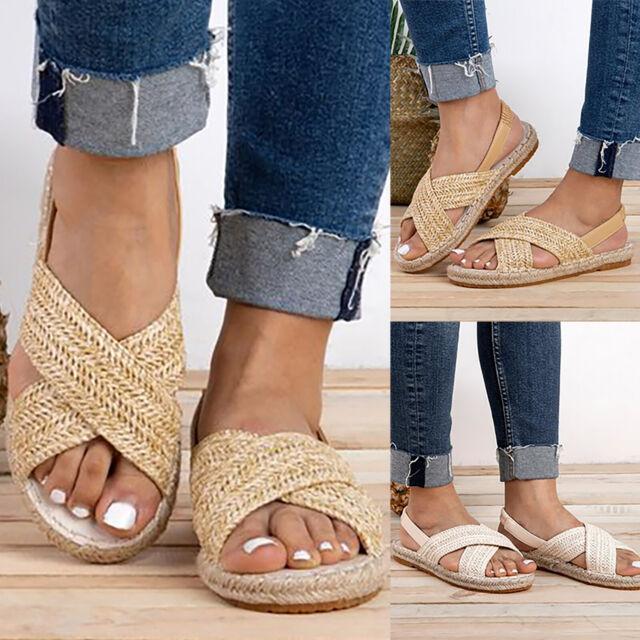 Women Summer Flat Espadrille Sandals Casual Beach Peep Toe Slingback Shoe Size 8