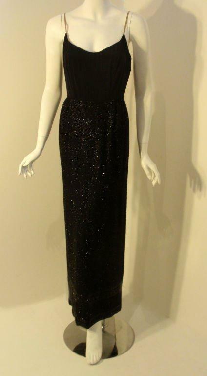 CEIL CHAPMAN 1960s Vintage 2 pc Black Beaded Gown - image 4