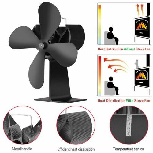 Ultra Quiet 4 Blades Wood Stove Heat Power Eco Fan Fireplace Blower Burner Fans