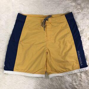 Nautica-Swim-Trunks-Shorts-Mens-Sz-40-Yellow-Blue-White-Spellout-Tie-Waist
