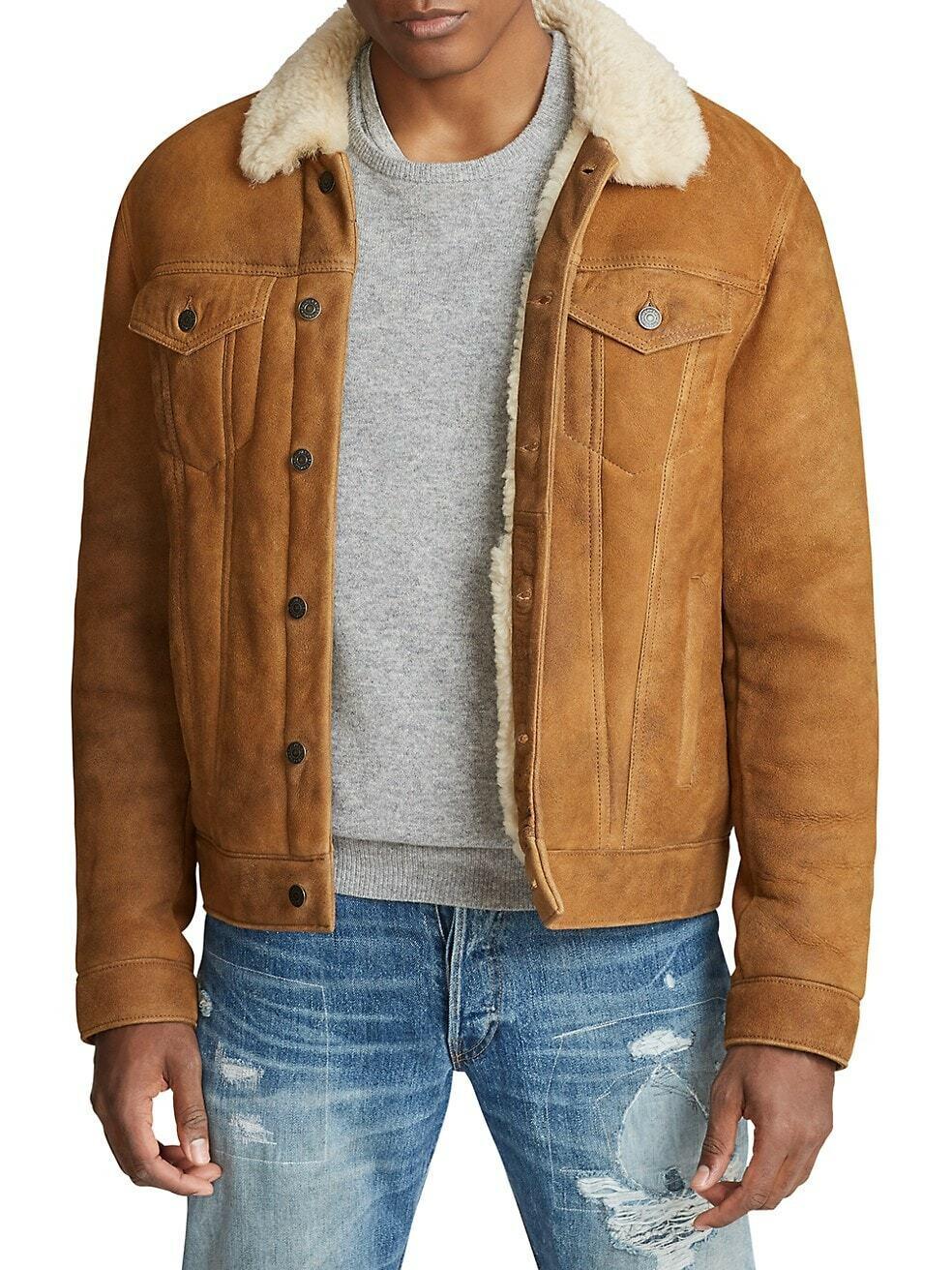 ,498 Polo Ralph Lauren Mens Shearling camionero cuero chaqueta abrigo de piel de oveja