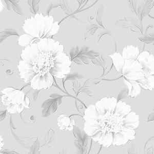 New rasch boutique floral wallpaper grey white 226188 ebay image is loading new rasch boutique floral wallpaper grey amp white mightylinksfo