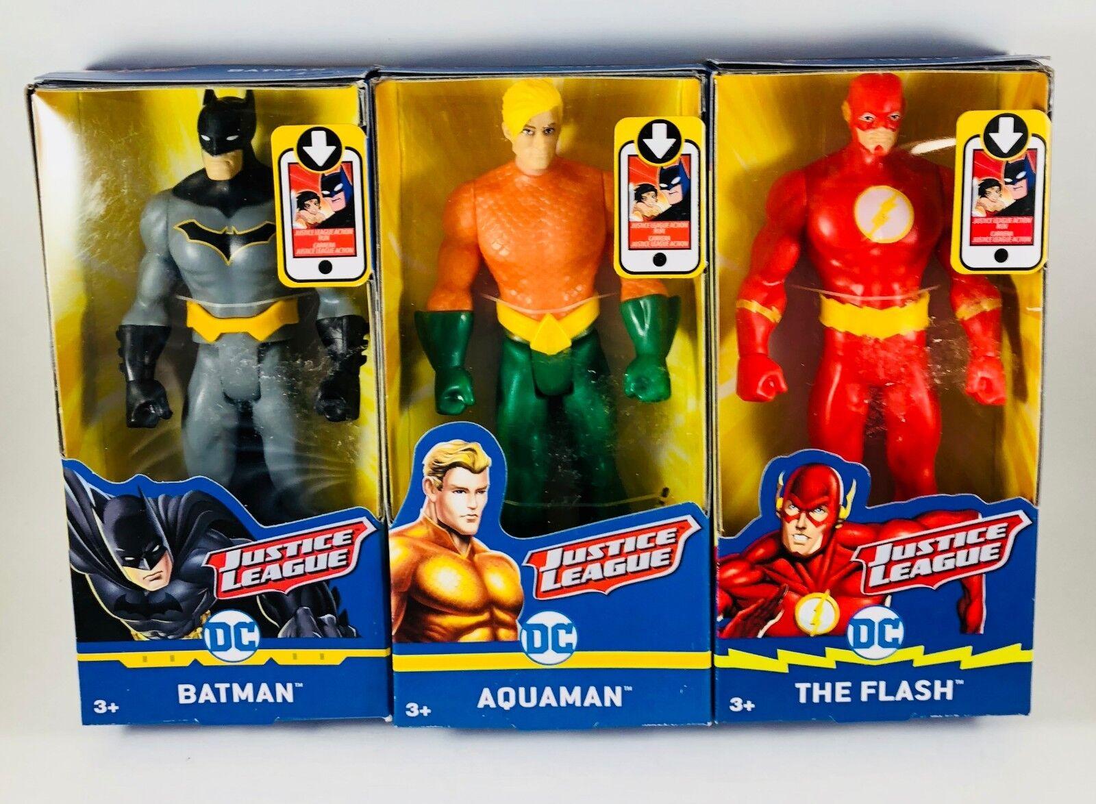 NEW  Mattel DC Justice League Action Batman The Flash Aquaman Figures set of 3