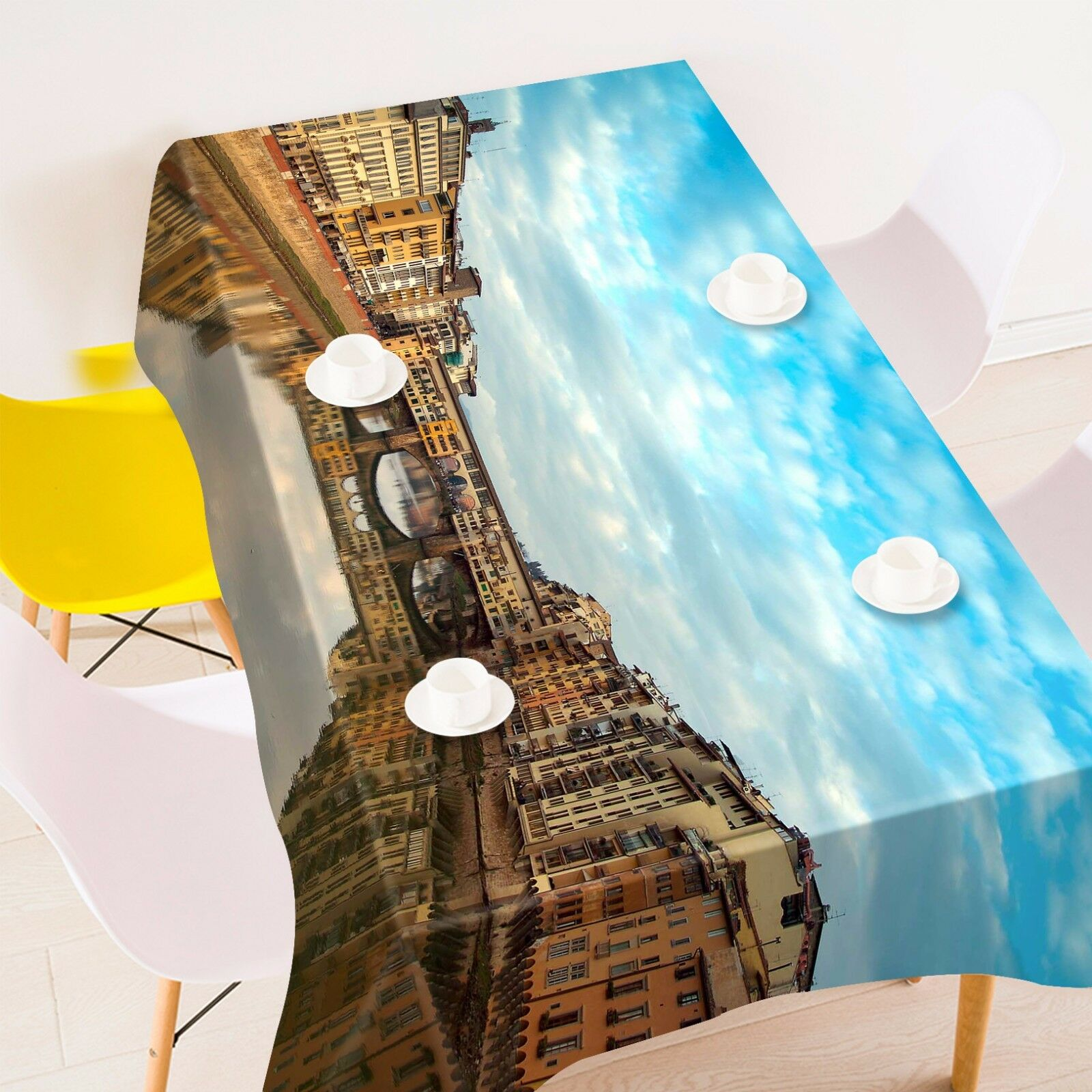 3D Ville Shadow Nappe Table Cover Cloth fête d'anniversaire AJ papier peint Royaume-Uni Citron