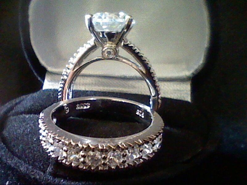 PLATINUM & SS LCS DIAMOND ENGAGEMENT WEDDING RING SET SZ 4 SZ 5 SZ 6 SZ 7 SZ 8
