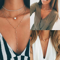 Women Chain Pearl Bib Choker Pendant Charm Statement Necklace Jewelry Fashion