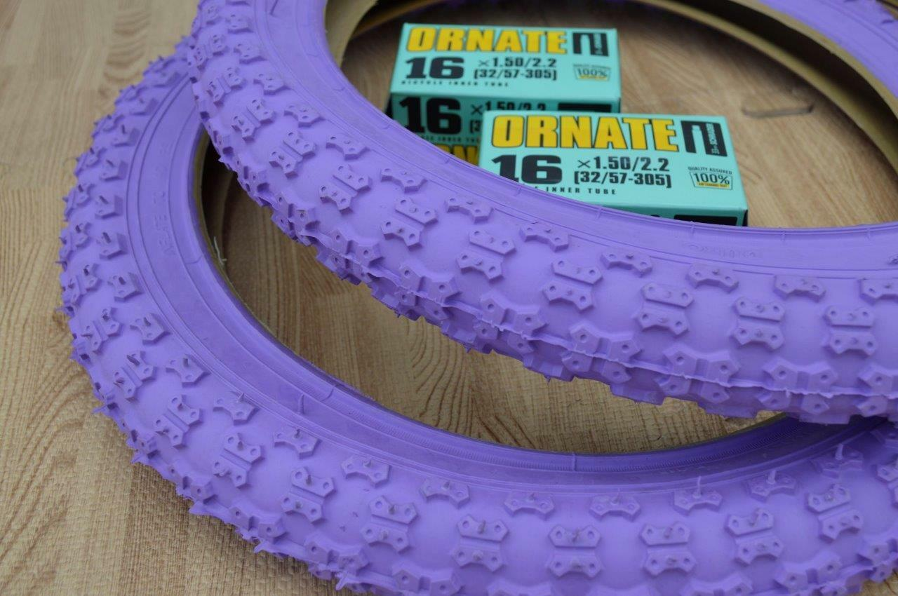 New PURPLE Kids Bicycle Tires and  Tubes 16 x 2.125 Fits 1.75 1.95 BMX 16  Girls  order now