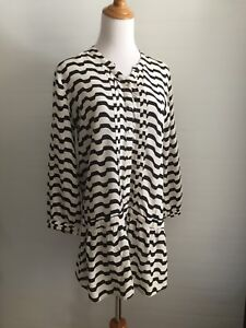 ISABELLA SINCLAIR ANTHROPOLOGIE WOMENS S SMALL WHITE BLACK STRIPED BUTTON SHIRT