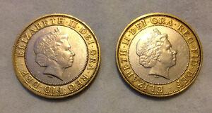 Zweiseitig Münze Zwei Pfund Köpfe Oder Tails Hergestellt Aus Echt