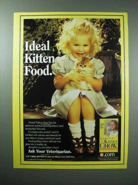 1998 Purina Kitten Chow Cat Food Ad - Ideal