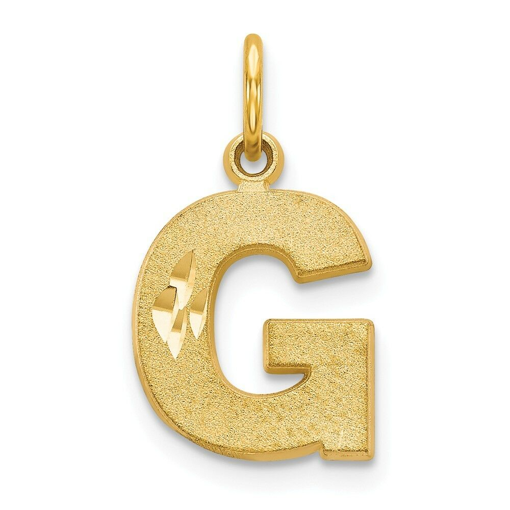 14k Yellow gold Initial G Charm Pendant 0.79 Inch