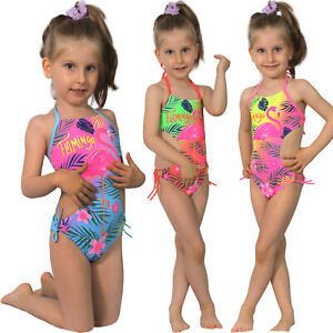 Kinder Badeanzug Flamingo Neon Bunt Neckholder Mädchen Strand Bikini Palme Blume