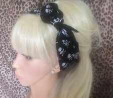 NEW BLACK MINI SKULL PRINT COTTON BANDANA HEAD HAIR NECK SCARF ROCKABILLY PIN UP