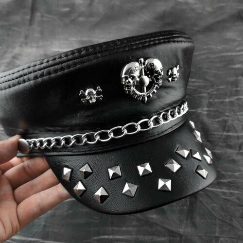 Homme Noir en Cuir Véritable Punk Steampunk Rocker Métal Rivets Crâne Chapeau
