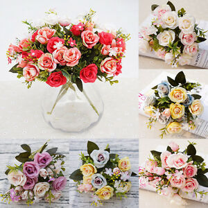 10-Heads-Real-Touch-Silk-Rose-Flower-Bridal-Wedding-Bouquet-Home-Office-Decor-US