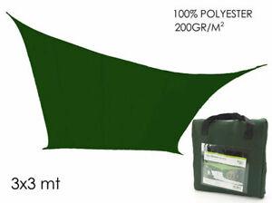 Toile Ombree Vert 3 X 3 Mt Voile Parasol Carre Couverture Jardin Mshop Ebay