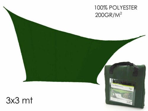 Telo ombreggiante verde 3 x 3 mt vela parasole quadrato copertura giardino mshop