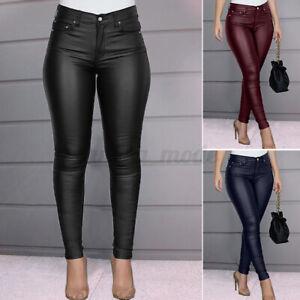 Mode-Femme-Coupe-Slim-Pantalon-en-cuir-Long-Personnalite-Loose-Couleur-Unie-Plus