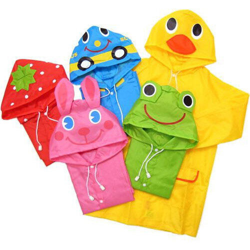 New Cute Funny Kids Children Girls Boys Raincoat Rain coat Car Frog Stawberry