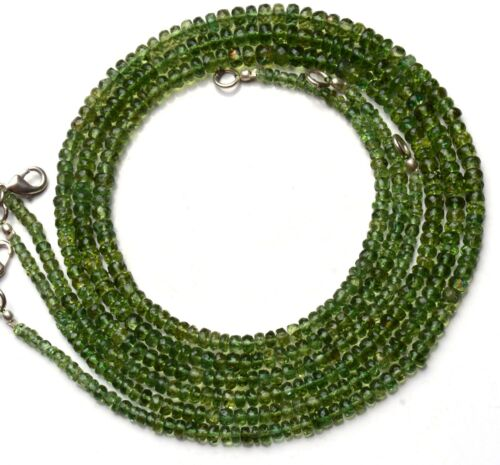 """Details about  /Natural Gem Super Quality Green Apatite 3-5MM Faceted Rondelle Bead Necklace 17/"""""""