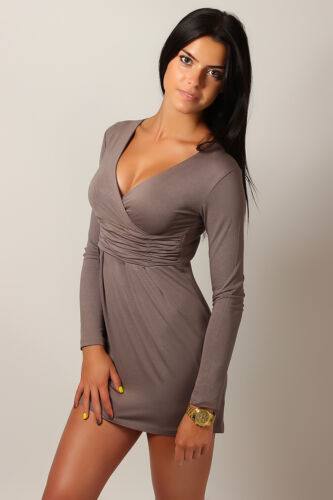 Women/'s Mini Dress V-Neck Cocktail Tunic Long Sleeve Plus Sizes 8-18 8518