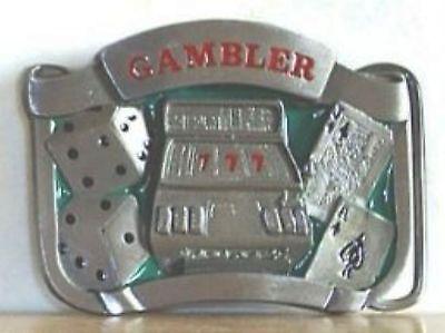 Dollar Gambler Gürtelschnalle Poker Lucky Buckle Würfel
